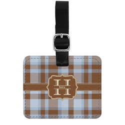 Two Color Plaid Genuine Leather Rectangular  Luggage Tag (Personalized)