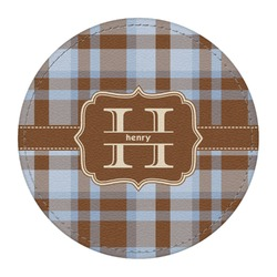 Two Color Plaid Round Desk Weight - Genuine Leather  (Personalized)