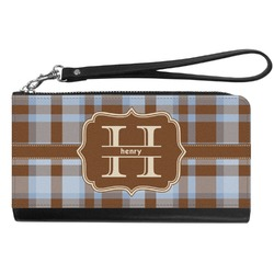 Two Color Plaid Genuine Leather Smartphone Wrist Wallet (Personalized)