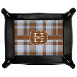 Two Color Plaid Genuine Leather Valet Tray (Personalized)