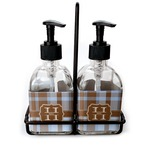 Two Color Plaid Soap & Lotion Dispenser Set (Glass) (Personalized)