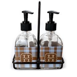 Two Color Plaid Soap & Lotion Dispenser Set (Glass) (Personalized)