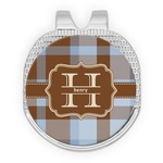 Two Color Plaid Golf Ball Marker - Hat Clip