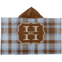 Two Color Plaid Kids Hooded Towel (Personalized)