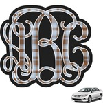 Two Color Plaid Interlocking Monogram Car Decal (Personalized)