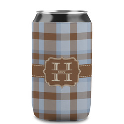 Two Color Plaid Can Sleeve (12 oz) (Personalized)