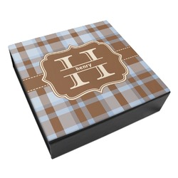 Two Color Plaid Leatherette Keepsake Box - 3 Sizes (Personalized)