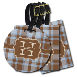 Two Color Plaid Plastic Luggage Tags (Personalized)