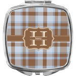 Two Color Plaid Compact Makeup Mirror (Personalized)