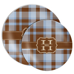 Two Color Plaid Melamine Plate (Personalized)