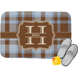 Two Color Plaid Memory Foam Bath Mat (Personalized)