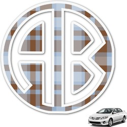 Two Color Plaid Monogram Car Decal (Personalized)