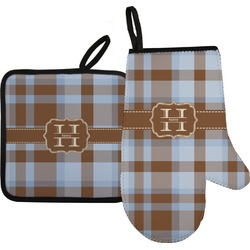Two Color Plaid Oven Mitt & Pot Holder (Personalized)