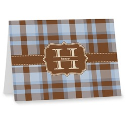 Two Color Plaid Notecards (Personalized)
