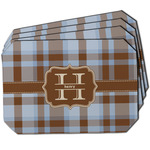 Two Color Plaid Dining Table Mat - Octagon w/ Name and Initial