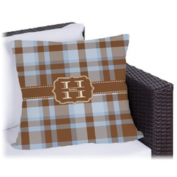 Two Color Plaid Outdoor Pillow (Personalized)