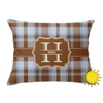 Two Color Plaid Outdoor Throw Pillow (Rectangular) (Personalized)