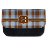 Two Color Plaid Canvas Pencil Case w/ Name and Initial