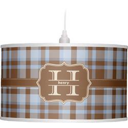 Two Color Plaid Drum Pendant Lamp (Personalized)