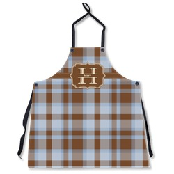 Two Color Plaid Apron Without Pockets w/ Name and Initial