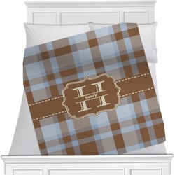 "Two Color Plaid Fleece Blanket - Twin / Full - 80""x60"" - Double Sided (Personalized)"