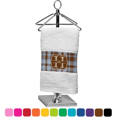 Two Color Plaid Finger Tip Towel (Personalized)
