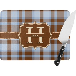 Two Color Plaid Rectangular Glass Cutting Board (Personalized)