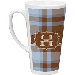 Two Color Plaid 16 Oz Latte Mug (Personalized)