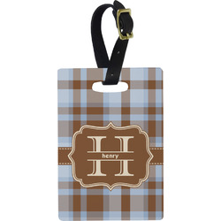 Two Color Plaid Rectangular Luggage Tag (Personalized)