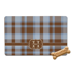 Two Color Plaid Pet Bowl Mat (Personalized)