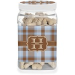 Two Color Plaid Dog Treat Jar (Personalized)
