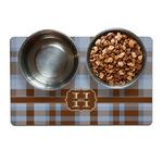 Two Color Plaid Pet Bowl Mat (Personalized)