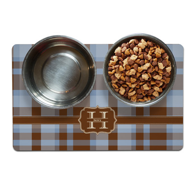 Two Color Plaid Dog Food Mat (Personalized)