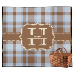Two Color Plaid Outdoor Picnic Blanket (Personalized)
