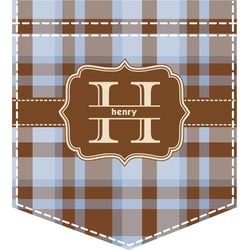Two Color Plaid Iron On Faux Pocket (Personalized)