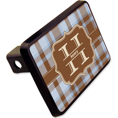 """Two Color Plaid Rectangular Trailer Hitch Cover - 2"""" (Personalized)"""