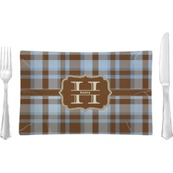 Two Color Plaid Glass Rectangular Lunch / Dinner Plate - Single or Set (Personalized)