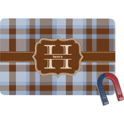 Two Color Plaid Rectangular Fridge Magnet (Personalized)