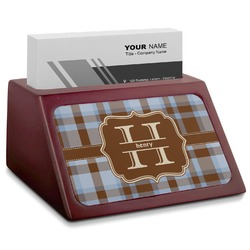 Two Color Plaid Red Mahogany Business Card Holder (Personalized)