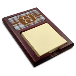 Two Color Plaid Red Mahogany Sticky Note Holder (Personalized)