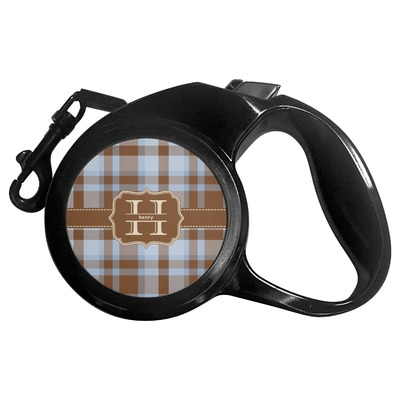 Two Color Plaid Retractable Dog Leash (Personalized)