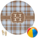 Two Color Plaid Round Beach Towel (Personalized)
