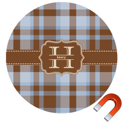 Two Color Plaid Round Car Magnet (Personalized)