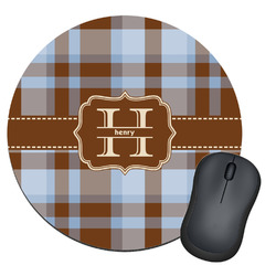 Two Color Plaid Round Mouse Pad (Personalized)