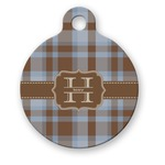 Two Color Plaid Round Pet Tag (Personalized)