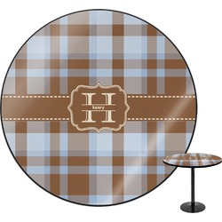 """Two Color Plaid Round Table - 30"""" (Personalized)"""