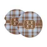 Two Color Plaid Sandstone Car Coasters (Personalized)