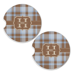 Two Color Plaid Sandstone Car Coasters - Set of 2 (Personalized)