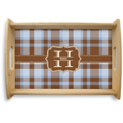 Two Color Plaid Natural Wooden Tray (Personalized)