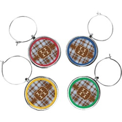 Two Color Plaid Wine Charms (Set of 4) (Personalized)